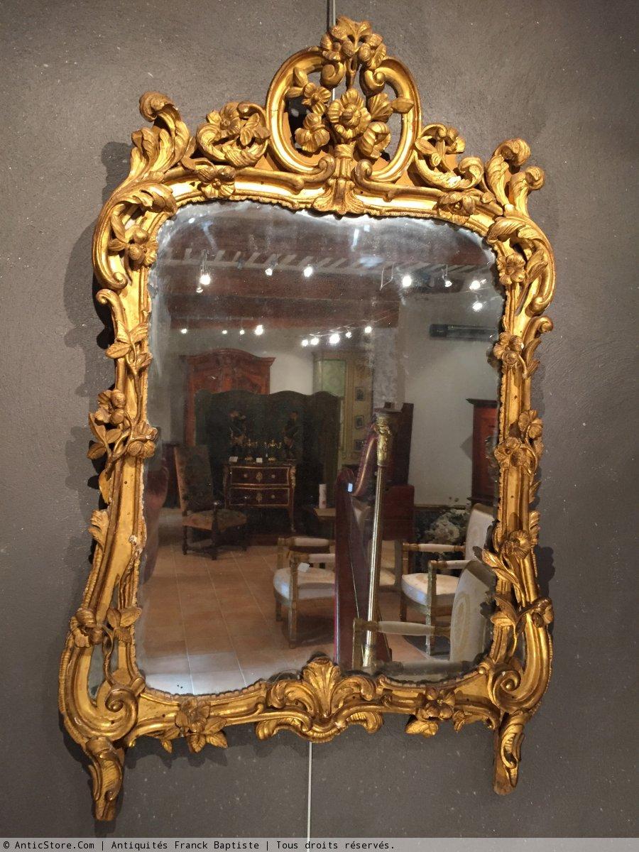 Miroir en bois dor provence poque louis xv xviiie for Miroir louis xv