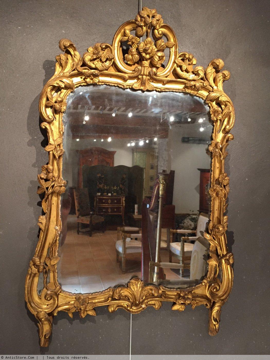 Miroir en bois dor provence poque louis xv xviiie for On traverse un miroir