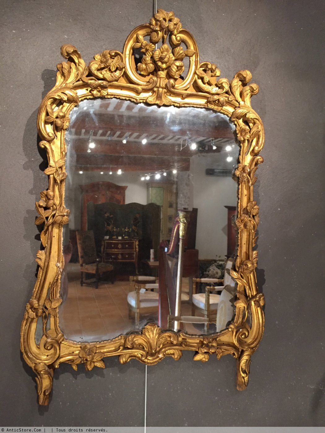 miroir en bois dor provence poque louis xv xviiie si cle. Black Bedroom Furniture Sets. Home Design Ideas