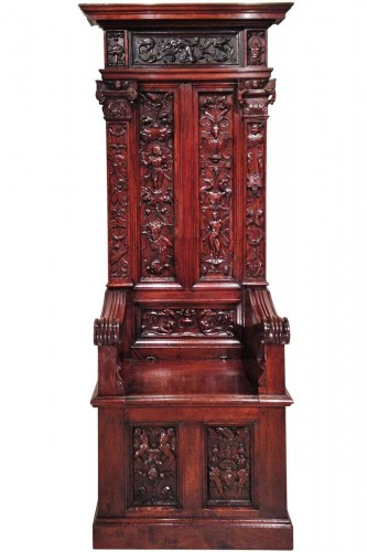 Rare French Renaissance Walnut Throne François 1st Period Circa 1520