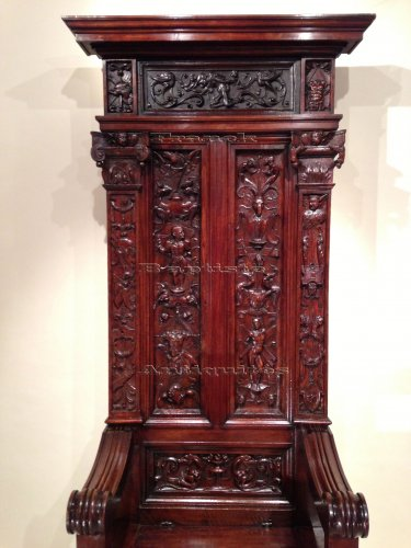 Rare French Renaissance Walnut Throne François 1st Period Circa 1520  -