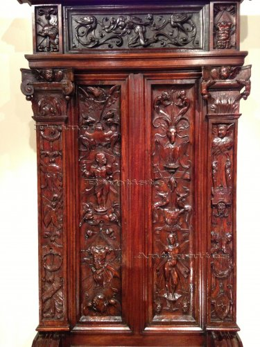 16th century - Rare French Renaissance Walnut Throne François 1st Period Circa 1520