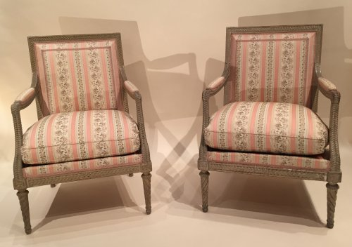 Pair of armchairs stamped boulard, louis xvi périod