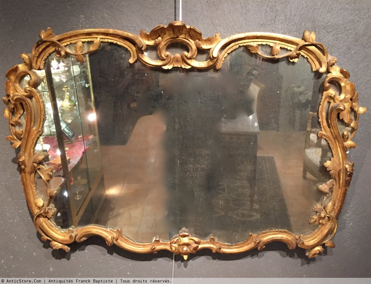 Miroir en bois dor provence poque louis xv xviiie for Miroir xviii