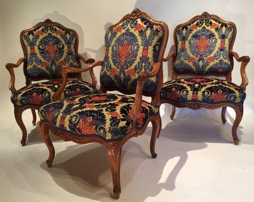 Three large french fine chairs, nogaret ,lyon circa 1750