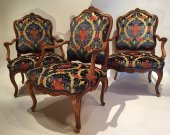 Three large french fine chairs, nogaret ,lyon circa 1750