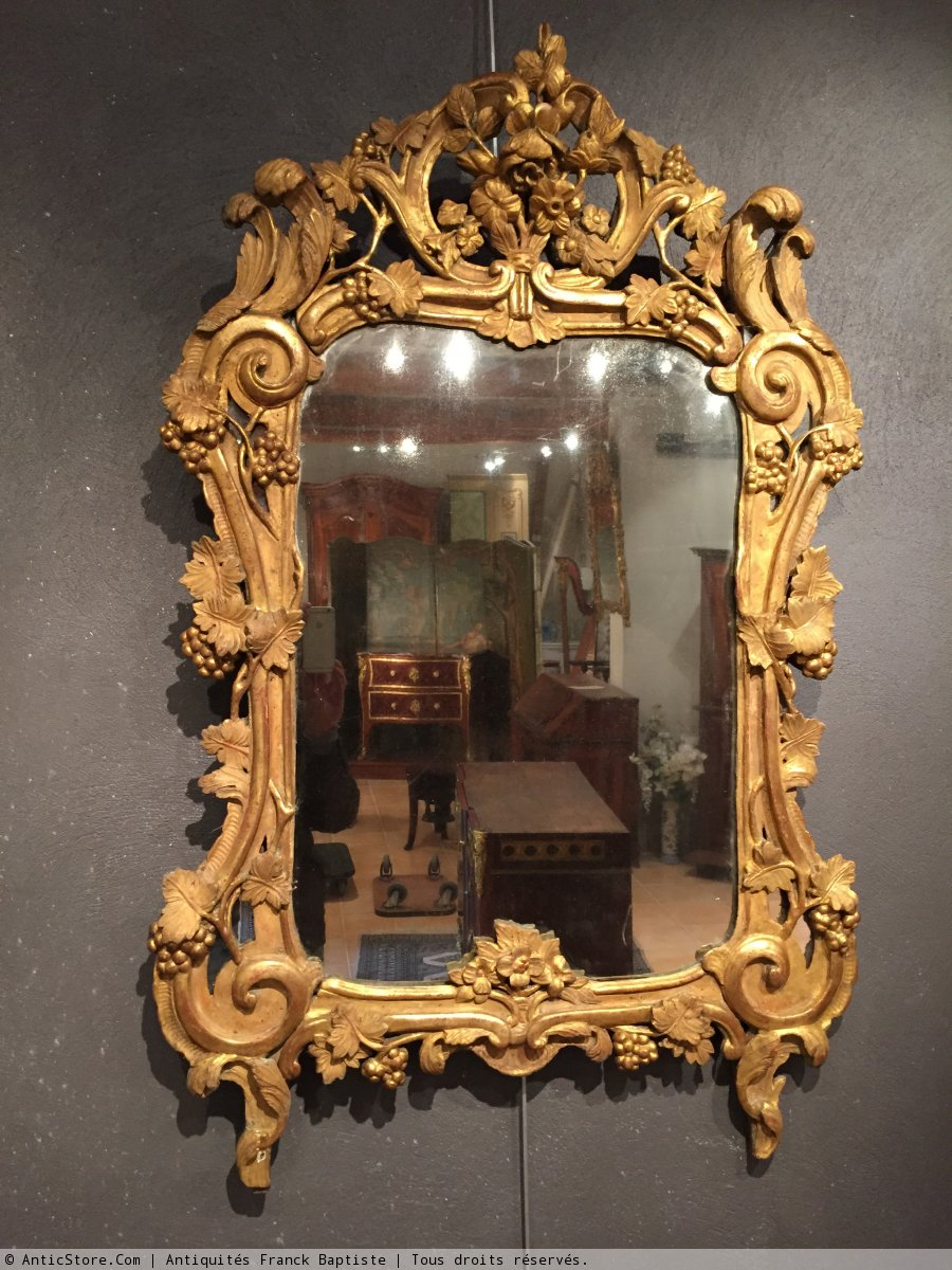 Miroir en bois dor provence poque louis xv xviiie - Miroir ancien bois dore ...