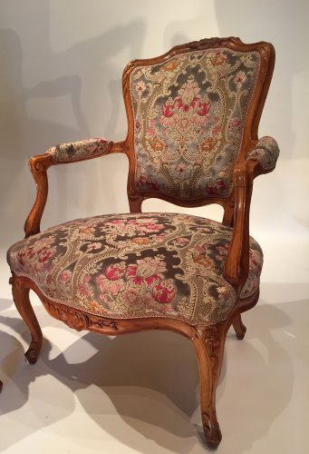 18th century - Pair of large armchairs stamped lefèvre, paris louis xv périod