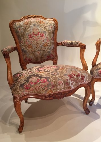Pair of large armchairs stamped lefèvre, paris louis xv périod - Louis XV