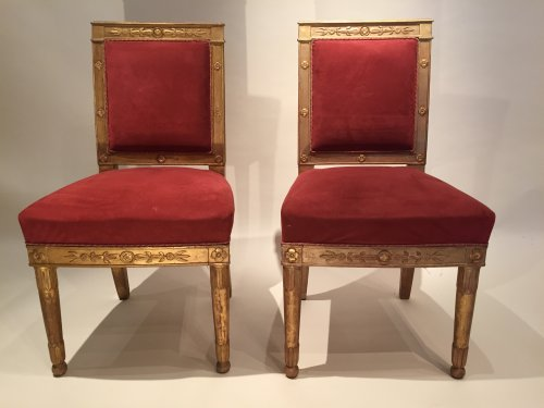 Paire de chaises Empire en bois doré par Marcion ou Bellangé, Paris vers 1805