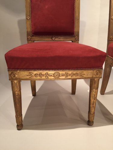 Pair of gilded wood chairs Empire by Marcion or Bellangé, Paris 1805 - Seating Style Empire