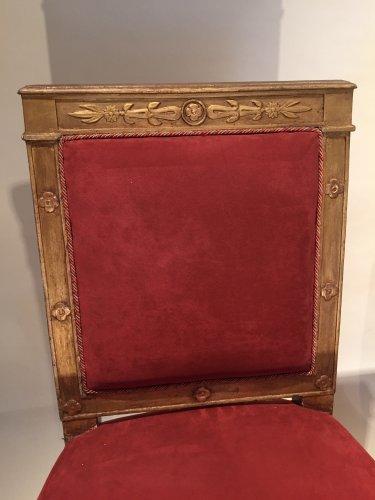 Seating  - Pair of gilded wood chairs Empire by Marcion or Bellangé, Paris 1805