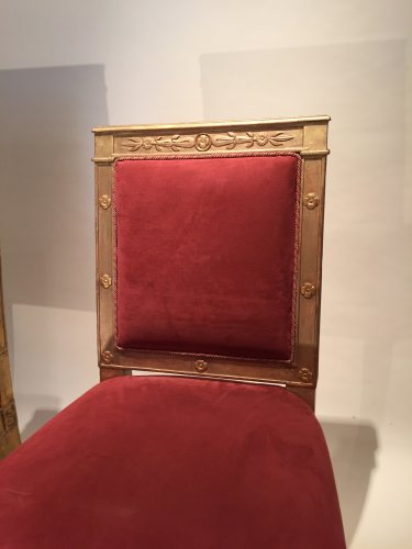 Pair of gilded wood chairs Empire by Marcion or Bellangé, Paris 1805 -