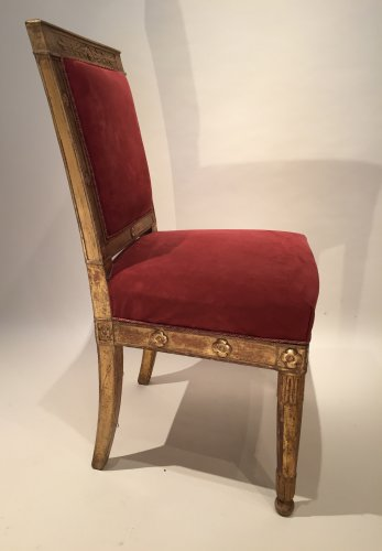Empire - Pair of gilded wood chairs Empire by Marcion or Bellangé, Paris 1805