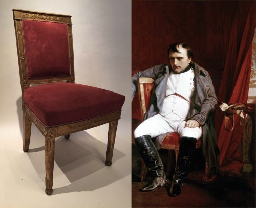 Antiquités - Pair of gilded wood chairs Empire by Marcion or Bellangé, Paris 1805