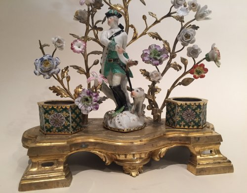 Inkwell in bronze, porcelain and glazed biscuit saxony, louis xv périod - Decorative Objects Style Louis XV