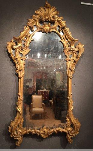 Antiquités - Italian fine mirror , between two windows , circa 1750