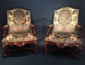 "French Régence 18th big ""chimney"" pair of armchairs"