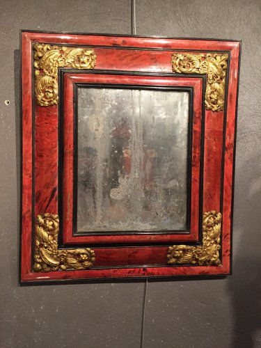 Flemish 17th .c red tortoiseshell mirror
