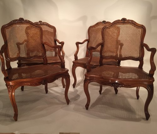 Walnut armchairs Series by Pierre Nogaret in Lyon circa 1750