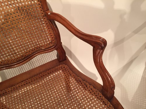 Walnut armchairs Series by Pierre Nogaret in Lyon circa 1750 -