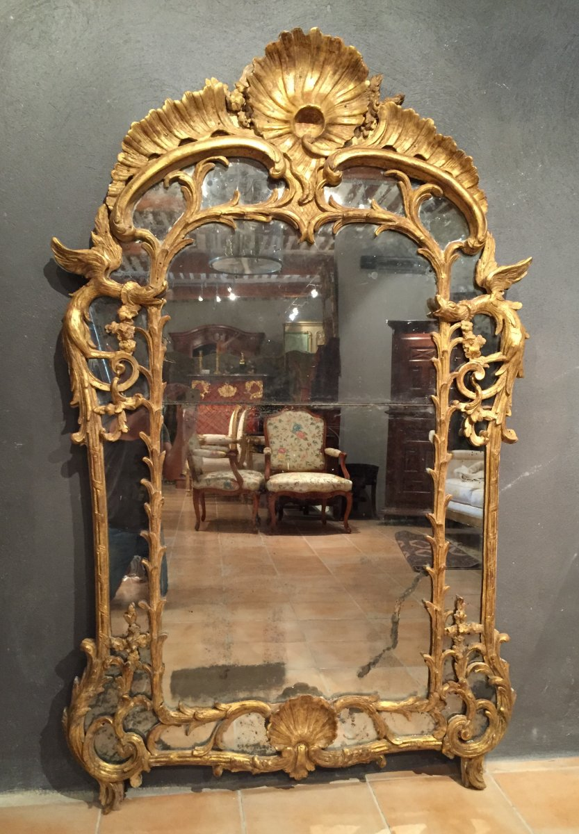 miroir parecloses aux chim res poque louis xv vers 1730 xviiie si cle. Black Bedroom Furniture Sets. Home Design Ideas
