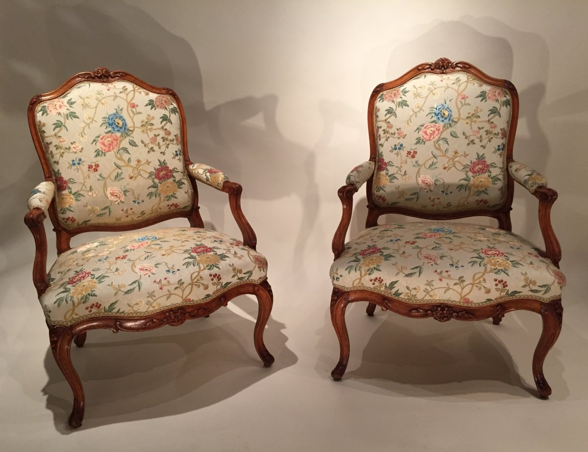 French Fine Pair Armchairs Stamped N Heurtaut Louis Xv Period