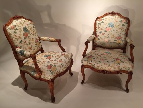 Seating  - French fine pair armchairs stamped N.Heurtaut , Louis XV period