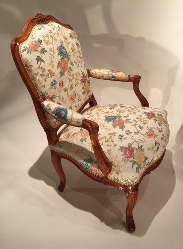 French fine pair armchairs stamped N.Heurtaut , Louis XV period -