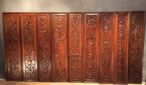 Set of 19th.c twelve renaissance panels  oak