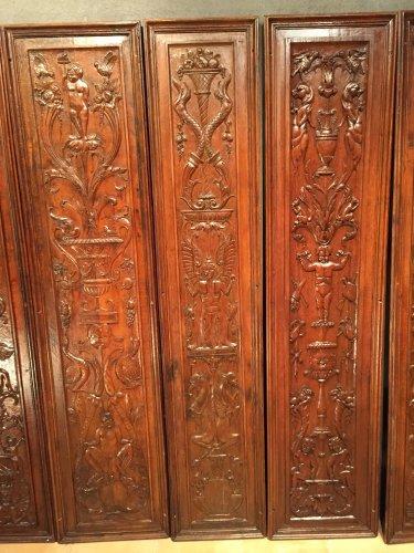 Architectural & Garden  - Set of 19th.c twelve renaissance panels  oak
