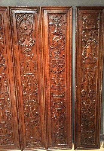 Set of 19th.c twelve renaissance panels  oak  -