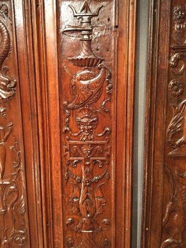 19th century - Set of 19th.c twelve renaissance panels  oak