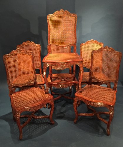 French Fine Suite of Six Chairs, Paris Régence Period BY Louis Cresson.