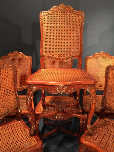French Fine Suite of Six Chairs, Paris Régence Period BY Louis Cresson. - Seating Style French Regence