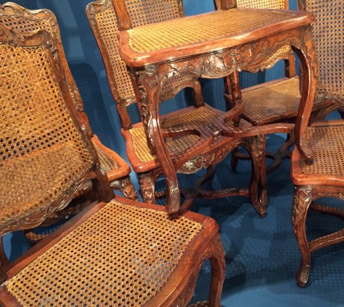 French Fine Suite of Six Chairs, Paris Régence Period BY Louis Cresson. - French Regence