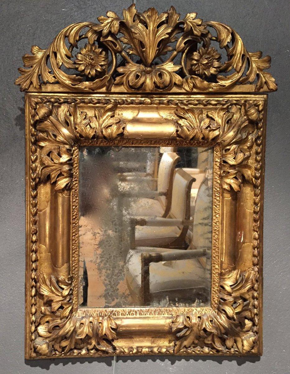 Miroir aixois en bois dor poque louis xiv xviiie for Miroir louis xiv