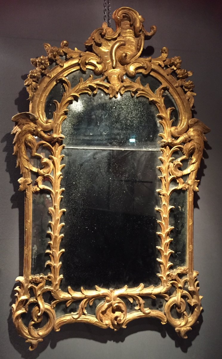 Miroir parecloses en bois dor aux chim res poque for Miroir louis xv