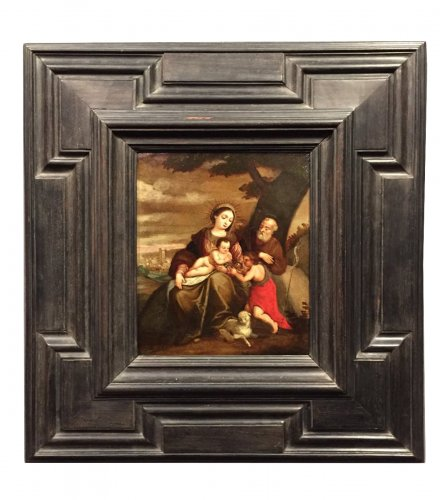 The Holy Family and Saint Jean Baptiste, Oil on Copper, Italy circa 1620
