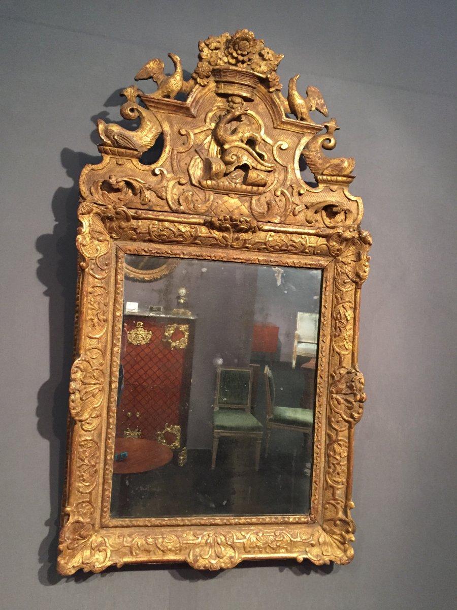 Miroir en bois de tilleul dor poque louis xiv vers 1700 for Miroir louis xiv