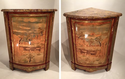 Furniture  - Pair of corner cupboards lake scenery and ancient ruins, Pierre Roussel