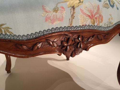 Seating  - Pair of French Walnut Armchairs , Lyon Louis XV Period By Pierre Nogaret