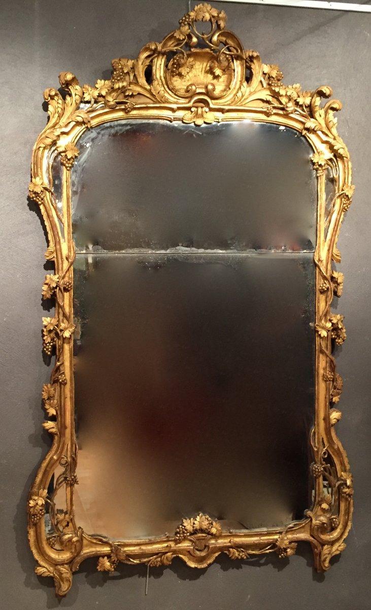 miroir en bois dor provence poque louis xv vers 1760 xviiie si cle. Black Bedroom Furniture Sets. Home Design Ideas