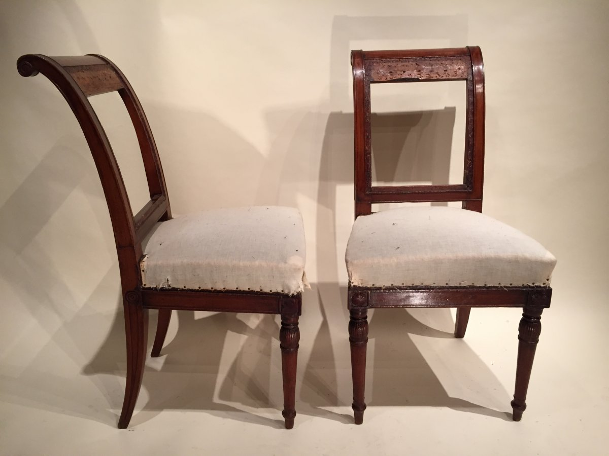 Pair of mahogany chairs by jacob fr res paris directoire for Chaise directoire