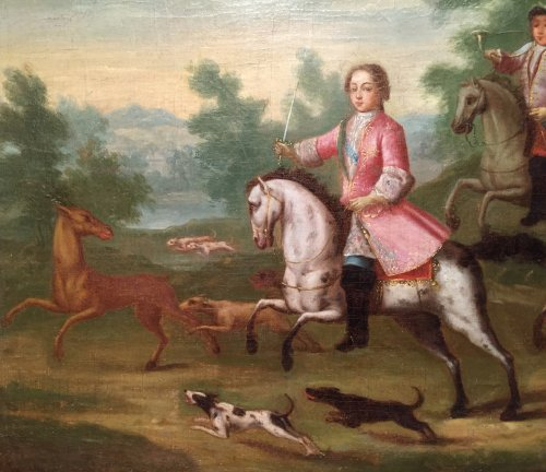 Paintings & Drawings  - Hunt Louis XV as a child, Pierre-Denis Martin Regence period