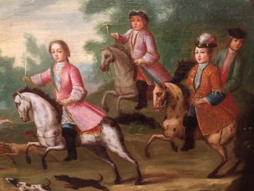 Hunt Louis XV as a child, Pierre-Denis Martin Regence period - French Regence
