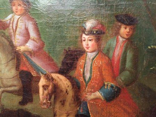 Antiquités - Hunt Louis XV as a child, Pierre-Denis Martin Regence period