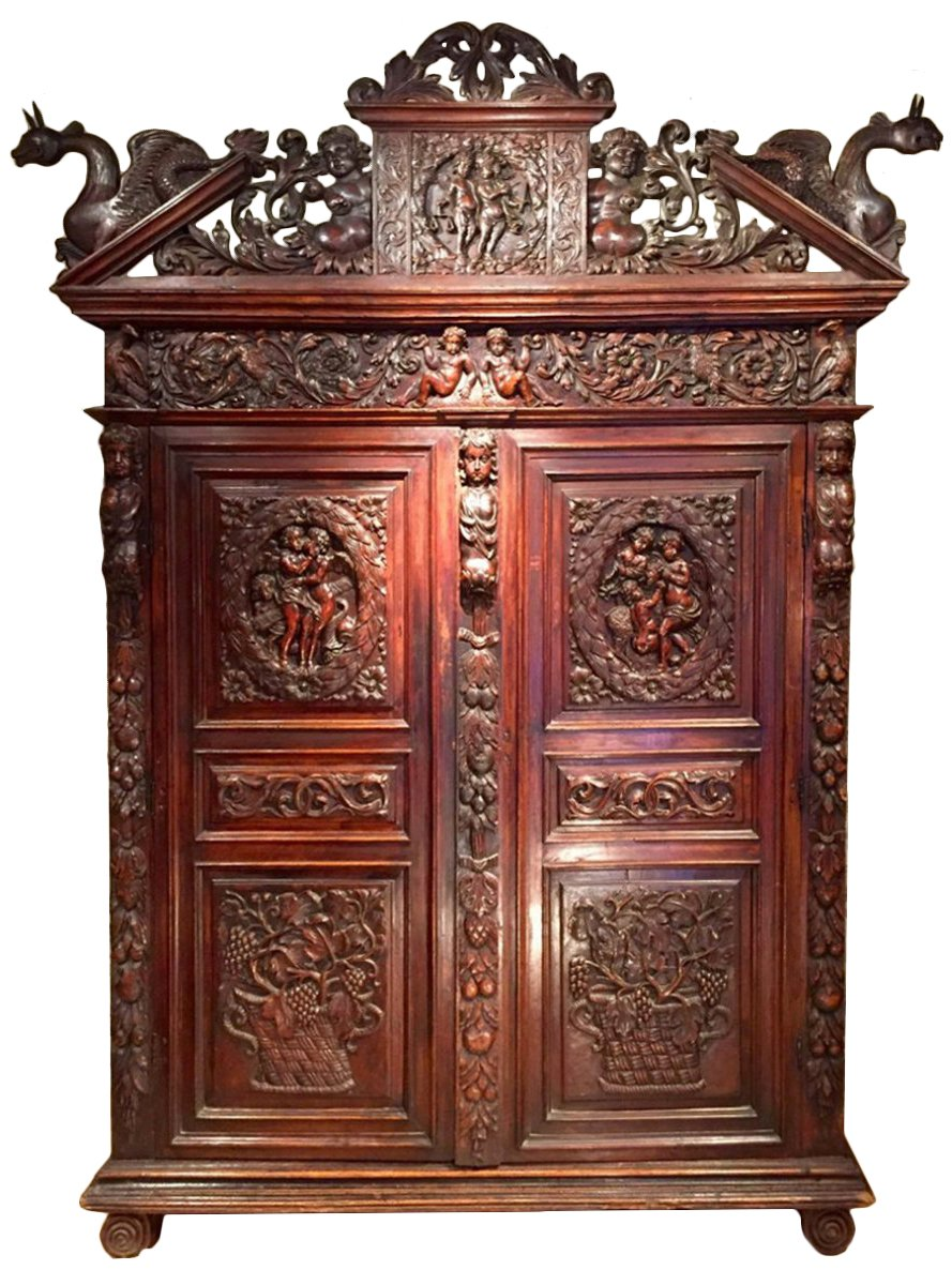 armoire biblique en noyer symbolisant la justice languedoc poque louis xiii xviie si cle n. Black Bedroom Furniture Sets. Home Design Ideas