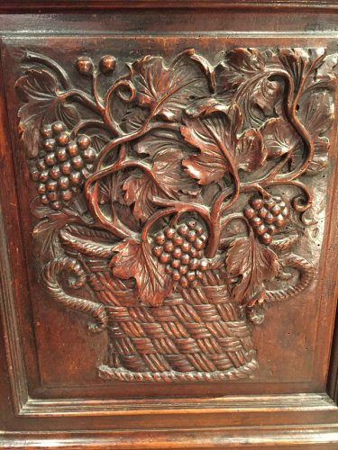 Biblical walnut cabinet symbolizing justice, Languedoc Louis XIII. -