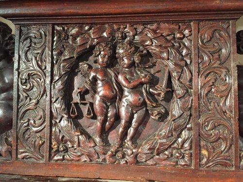Antiquités - Biblical walnut cabinet symbolizing justice, Languedoc Louis XIII.